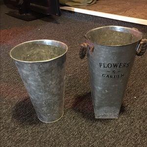 Galvanized plant pots